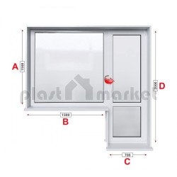 Алуминиева дограма Etem E 40 термо с балконска врата 220/150см