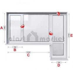 Алуминиева дограма Etem E 40 термо с крило и врата 280/140 см