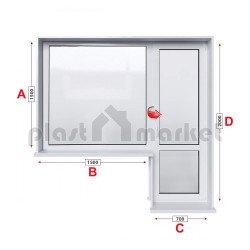 Алуминиева дограма Etem E 45 термо с балконска врата 220/150 см
