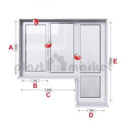 Алуминиева дограма Etem E 45 термо с крило и врата 205/135см