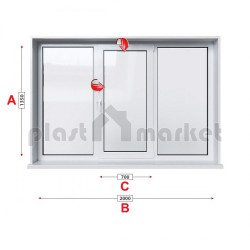 Алуминиева дограма Etem E 40 термо със средно крило 200/135 см