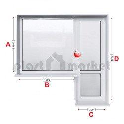 Балконски прозорец (пистолет) Aluplast Ideal 4000 - 70 mm с балконска врата 220/150см