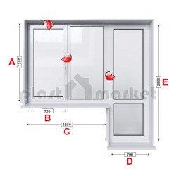 Балконски прозорец (пистолет) Aluplast Ideal 4000 - 70 mm с крило и врата 205/135см