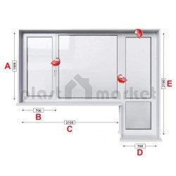 Балконски прозорец (пистолет) Aluplast Ideal 4000 - 70 mm с крило и врата 280/180см