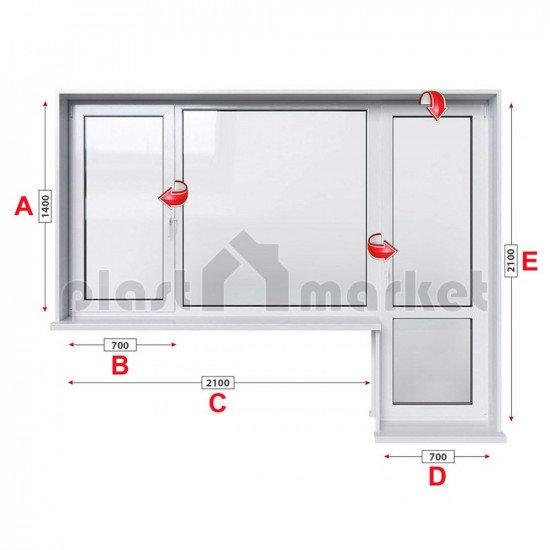 Балконски прозорец (пистолет) Aluplast Ideal 4000 - 70 мм с крило и врата 280/180 см