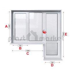 Балконски прозорец (пистолет) KMG Prestige 70 - 70 mm с крило и врата 200/130см