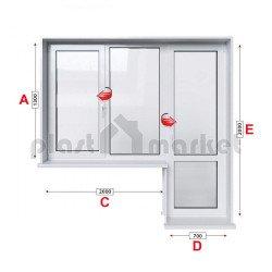 Балконски прозорец (пистолет) KMG Prestige 70 - 70 mm с крило и врата 270/130см