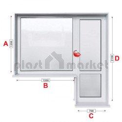 Балконски прозорец (пистолет) Profilink Classic 4 - 60 mm с балконска врата 200/150см