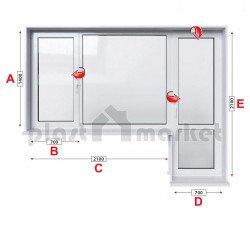 Балконски прозорец (пистолет) Baufen Ultima 70 - 70 мм с крило и врата 280/140 см