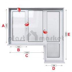 Балконски прозорец (пистолет) Kommerling 76 mm с крило и врата 205/135см