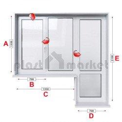 Балконски прозорец (пистолет) Profilink Classic 4 - 60 mm с крило и врата 200/135см