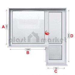Балконски прозорец (пистолет) Rehau Euro-Design 86 plus - 86 mm с балконска врата 220/150см