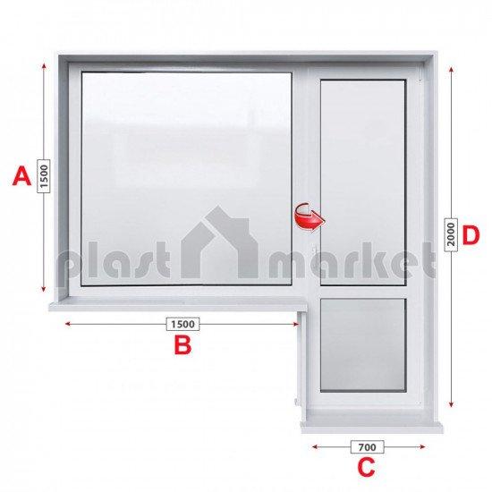 Балконски прозорец (пистолет) Rehau Euro-Design 86 plus - 86 мм с балконска врата 220/150 см