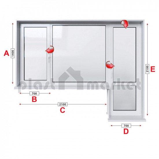 Балконски прозорец (пистолет) Rehau GENEO с крило и врата 280/180 см