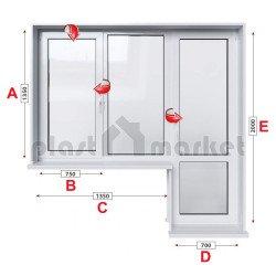 Балконски прозорец (пистолет) StreamLine 76 мм с крилo и врата 205/135 см