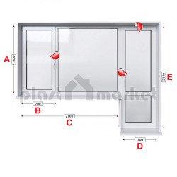 Балконски прозорец (пистолет) StreamLine 76 mm с крило и врата 280/180см