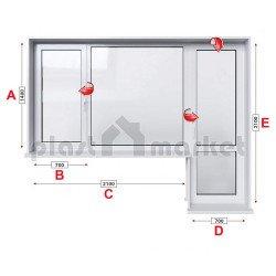 Балконски прозорец (пистолет) Veka Softline 70 - 70 mm с крило и врата 280/180см