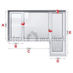 Балконски прозорец (пистолет) Veka Softline 70 - 70 мм с крило и врата 280/180 см