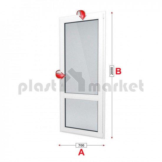 Балконска врата KBE Eco 70 мм с двуосов механизъм
