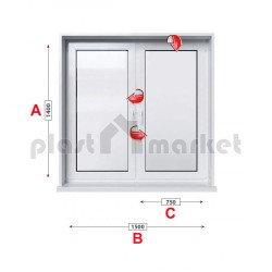 Кухненски прозорец двоен Aluplast Ideal 4000 - 70 mm с две крила 150/140см