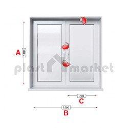 Кухненски прозорец двоен Profilink Classic 4 - 60 mm с две крила 150/140см