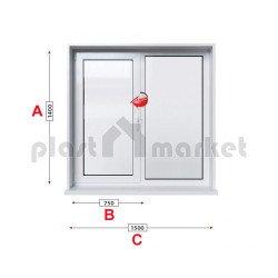 Кухненски прозорец двоен Trocal ECONOMY – 70MM с едно крило