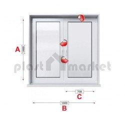 Кухненски прозорец двоен Baufen Ultima 70 - 70 мм с две крила 150/140 см