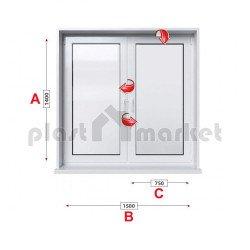 Кухненски прозорец двоен KBE Eco 70 мм с две крила 150/140 см