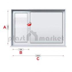 Кухненски прозорец двоен KBE Eco 70 мм с ляво крило 205/135 см