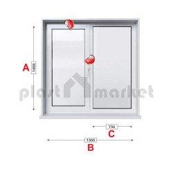 Кухненски прозорец двоен KBE Eco 70 мм с едно крило 150/140 см