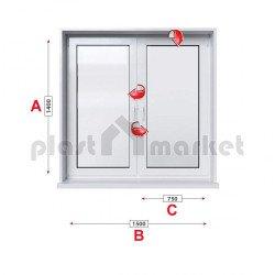 Кухненски прозорец двоен KBE System 70 мм с две крила 150/140 см
