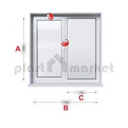 Кухненски прозорец двоен KBE System 70 mm с едно крило 150/140см
