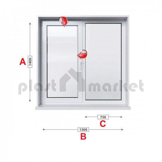 Кухненски прозорец двоен KBE System 70 мм с едно крило 150/140 см