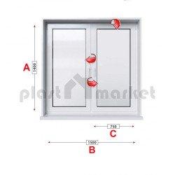 Кухненски прозорец двоен KMG Prestige 70 - 70 mm с две крила 150/140см
