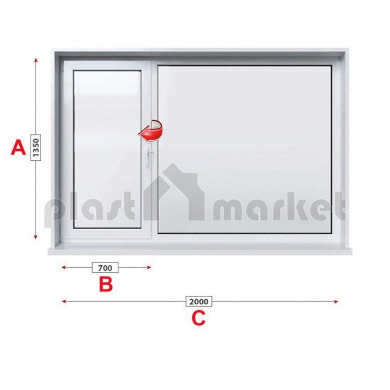 Кухненски прозорец двоен Profilink Classic 4 - 60 мм с ляво крило 200/135 см