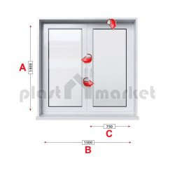 Кухненски прозорец двоен Rehau Ecosol-Design 70 - 70 мм с две крила 150/140 см