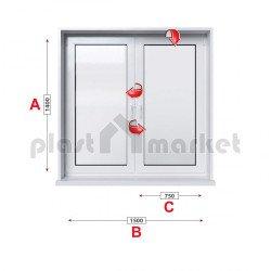 Кухненски прозорец двоен Rehau Euro-Design 86 plus - 86 mm с две крила 150/140см