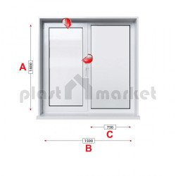 Кухненски прозорец двоен Rehau Euro-Design 86 plus - 86 mm с едно крило 150/140см