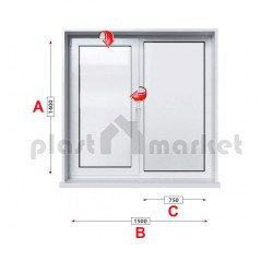 Кухненски прозорец двоен Trocal Classic 76 mm с едно крило 150/140см