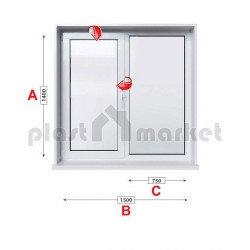 Кухненски прозорец двоен Trocal Economy 70 mm с едно крило 150/140см