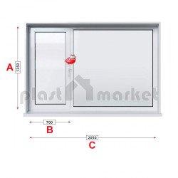 Кухненски прозорец двоен Trocal Economy 70 mm с ляво крило 205/135см
