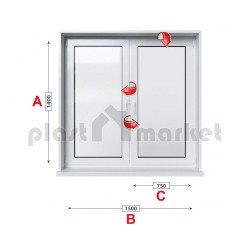 Кухненски прозорец двоен Veka Softline 70 - 70 mm с две крила 150/140см
