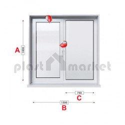 Кухненски прозорец двоен Veka Softline 70 - 70 mm с едно крило 150/140см