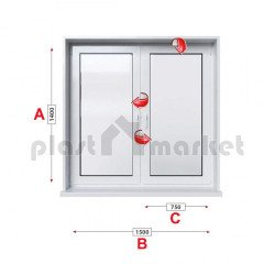 Кухненски прозорец двоен Profilink Premium 5 - 70 мм с две крила 150/140 см