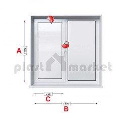 Кухненски прозорец двоен Profilink Premium 5 - 70 мм с едно крило 150/140 см