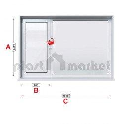 Кухненски прозорец двоен Profilink Premium 5 - 70 мм с ляво крило 200/135 см