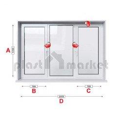 Кухненски прозорец троен Aluplast Ideal 4000 - 70 mm с две крила 205/135см