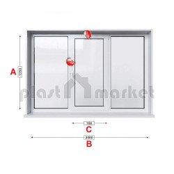 Кухненски прозорец троен Aluplast Ideal 4000 - 70 мм със средно крило 205/135 см