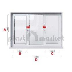 Кухненски прозорец троен KMG Prestige 60 - 60 мм с две крила 200/130 см