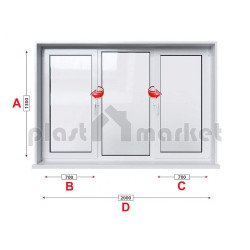Кухненски прозорец троен KMG Prestige 70 - 70 мм с две крила 200/130 см